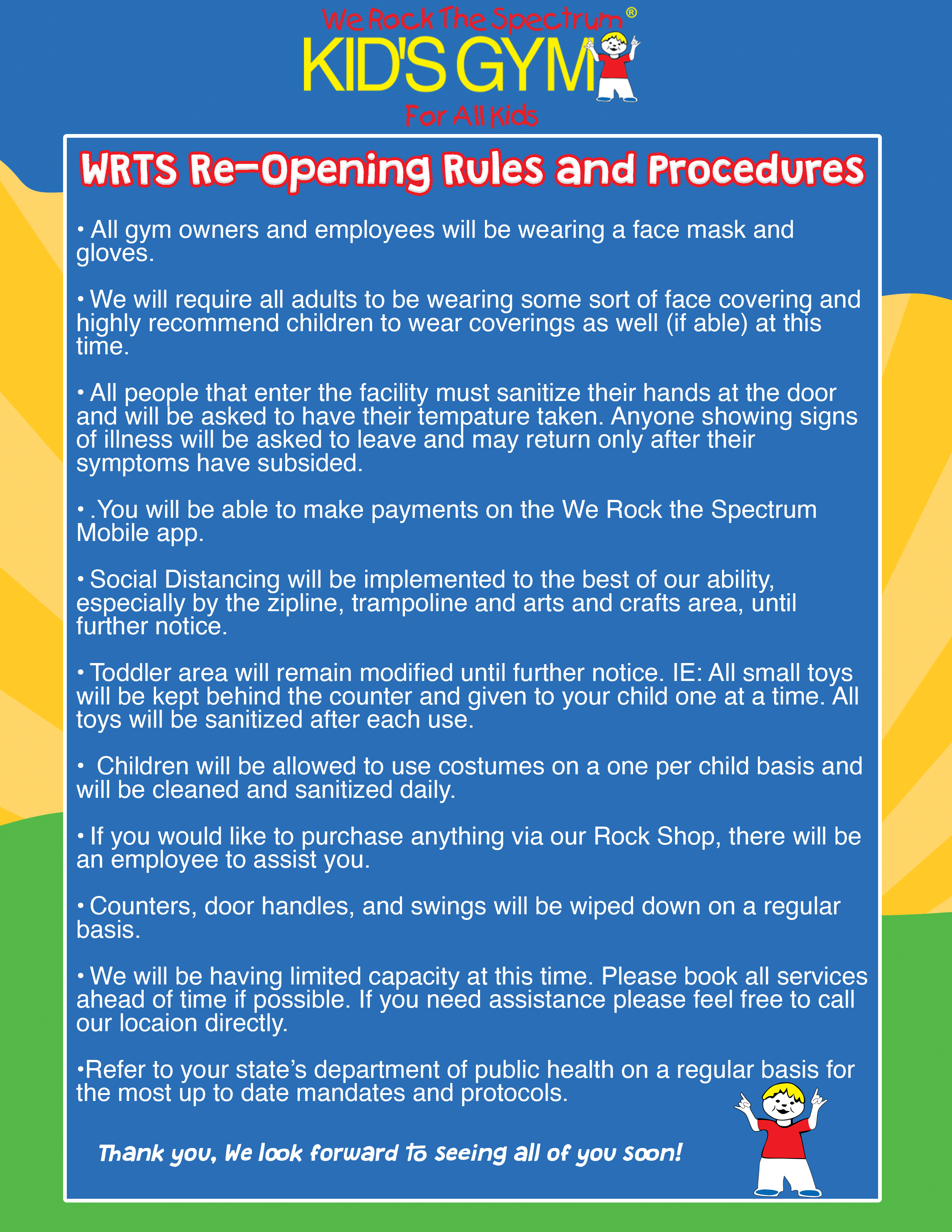 WRTS re-opening procedures